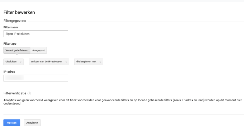 Filters instellen Google Analytics