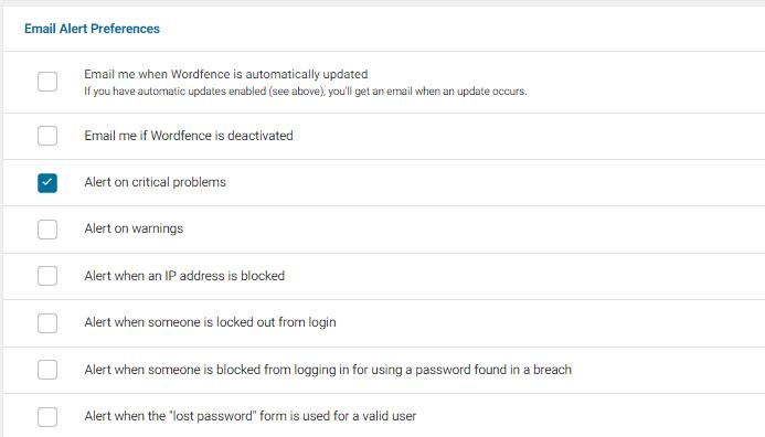 Wordfence plugin email instellingen