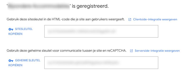 reCAPTCHA registratie