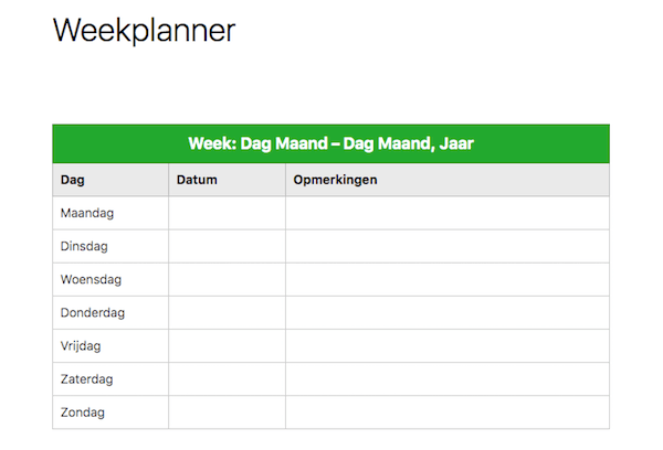 Evernote weekplanner